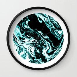 Suminagashi marble turquoise teal marbled japanese minimalist art decor Wall Clock
