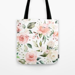 Watercolor Pink Peonies, Pink and White Roses and Greenery Tote Bag