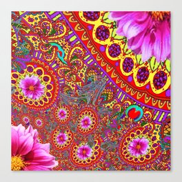 BOHEMIAN  FUCHSIA FLORALS  IN RED-YELLOW COLOR ART Canvas Print