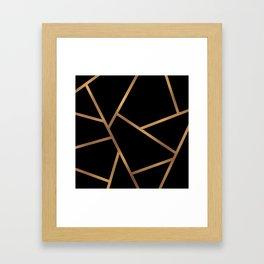 Black and Gold Fragments - Geometric Design Framed Art Print
