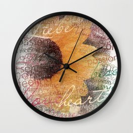 Words of Love Sunflower Wall Clock