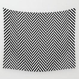 Classic Black & White Herringbone Pattern Wall Tapestry