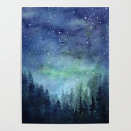 Watercolor Galaxy Nebula Northern Lights Painting Poster