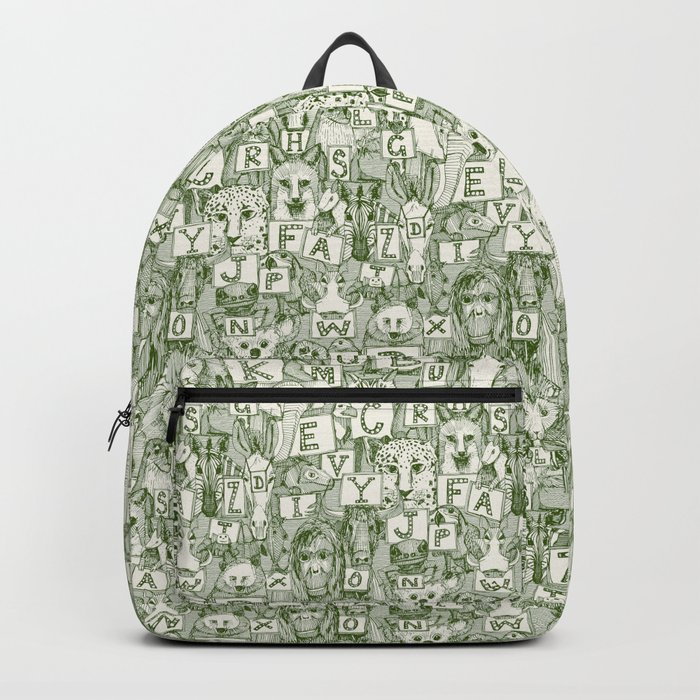 animal ABC green ivory Backpack
