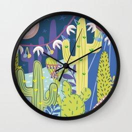 Cactus Nightlife Wall Clock
