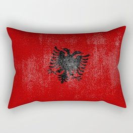 Albanian Distressed Halftone Denim Flag Rectangular Pillow