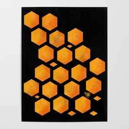Bee in a Honeycomb Poster