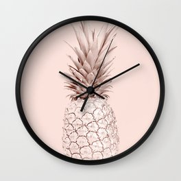 Rose Gold Pineapple on Blush Pink Wall Clock