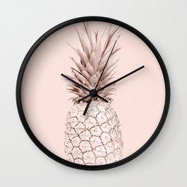 Rose Gold Pineapple on Blush Pink Wall Clock