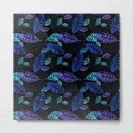 Black pattern with leaves Metal Print