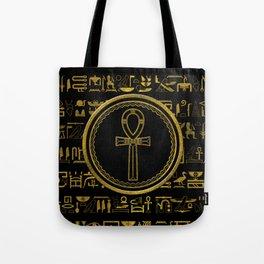 Gold Egyptian Ankh Cross symbol Tote Bag