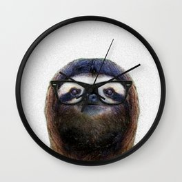 Hipster Sloth Wall Clock