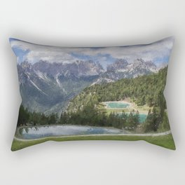 hree lakes at the top of the dolomites mountains italy Rectangular Pillow