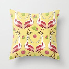 Brazilian Birds & Fruits - Roseate Spoonbill + guavas Throw Pillow