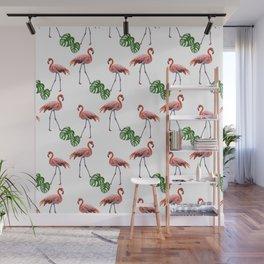 Flamingo & monstera pattern Wall Mural