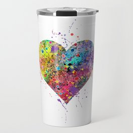 Heart Watercolor Art Print Love Home Decor Valentine's Day Wedding or Engagement Gift Travel Mug