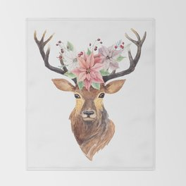 Winter Deer 3 Throw Blanket