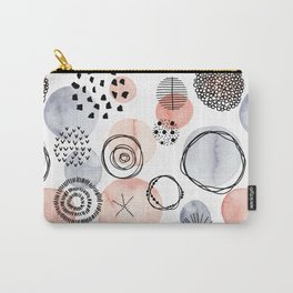 Watercolor Circles | Coral and Grey Palette Carry-All Pouch