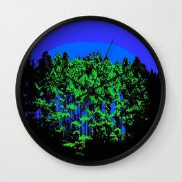 Mod Trees Blue & Green Wall Clock