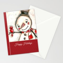 Red  Bird and Snowman - Christmas Holiday Art Stationery Cards