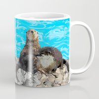 otters Mugs featuring Where the River Meets the Sea Otters by Distortion Art