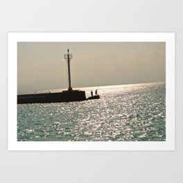 Silhouettes on the Corinth Canal Art Print