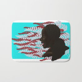 Black woman with braids floral Bath Mat