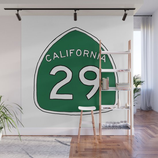 Hand Drawn Green California 29 Highway Sign Napa Valley by itsrturn