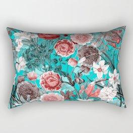 Vintage & Shabby Chic - Rose Blush & Teal Garden Flowers Rectangular Pillow