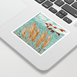 Geese Flying over Pampas Grass Sticker