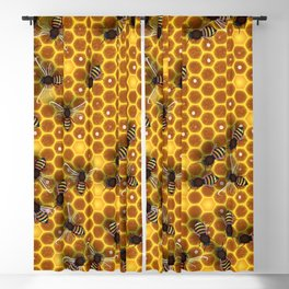 Honeycomb bee background illustration seamless pattern Blackout Curtain