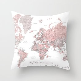 Make memories - Dusty pink and grey watercolor world map, detailed Throw Pillow