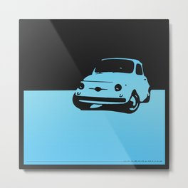 Fiat 500 1959, Light  blue on Black Metal Print