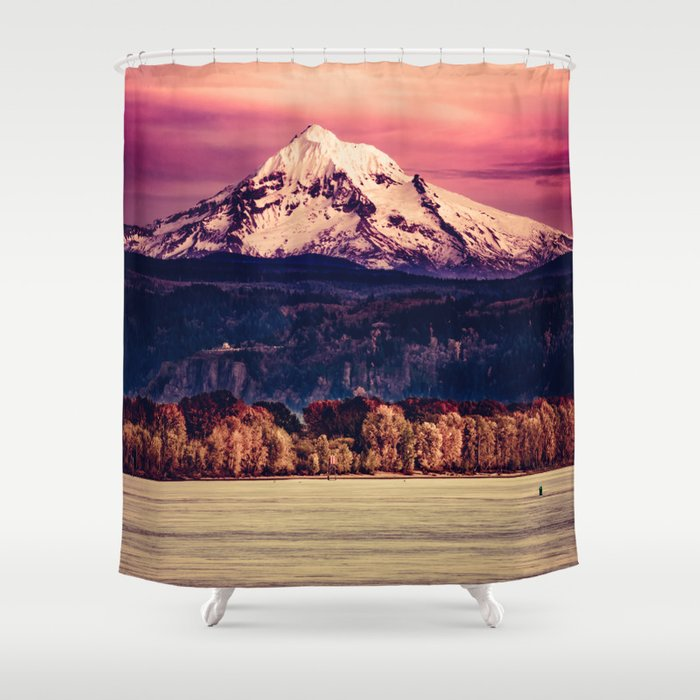 Mt Hood on Columbia River Shower Curtain