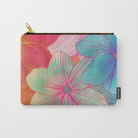 Between the Lines - tropical flowers in pink, orange, blue & mint Carry-All Pouch