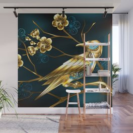 Steampunk Bird with Sakura Wall Mural