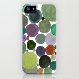Green dots heart iPhone Case
