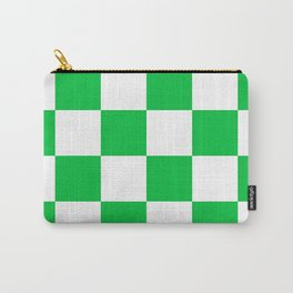 Large Checkered - White and Dark Pastel Green Carry-All Pouch