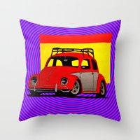 volkswagen Throw Pillows featuring VolkSWAGen by Colby Gray