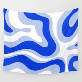 Modern Liquid Swirl Abstract Pattern Square Royal Blue, Light Blue, White Wall Tapestry