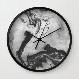 Hiroto - ink japanese marble paper free monoprint pattern marbled cell phone case india ink painting Wall Clock