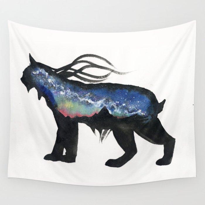 Aurora Milky Way Lynx. Wall Tapestry