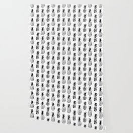 Black-and-white pineapples Wallpaper