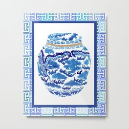 Chinoiserie Ginger Jar No. 2 Metal Print