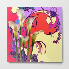 Modern Art White Calla Lilies Fantasy Garden Flowers Metal Print