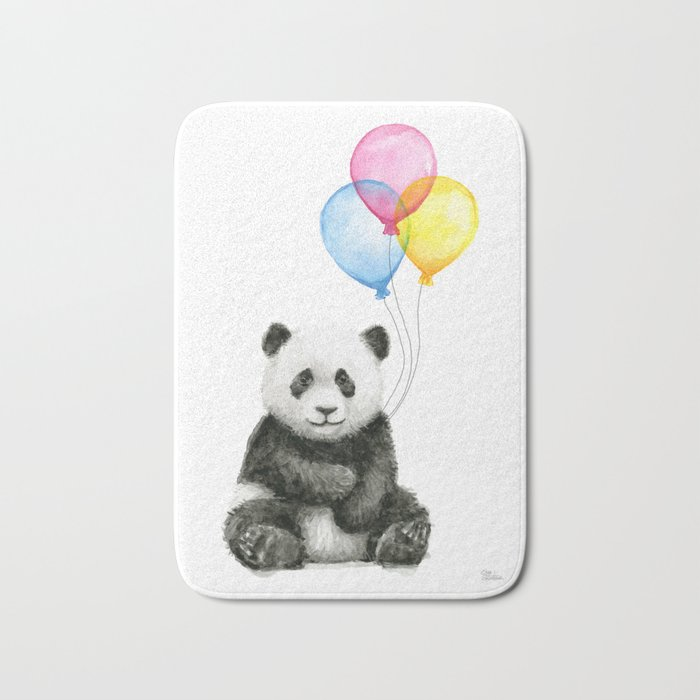 Panda Baby with Balloons Whimsical Nursery Animals Bath Mat
