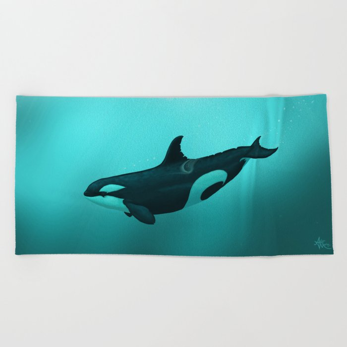 """""""Lost in Paradise"""" by Amber Marine ~ Killer Whale ~ Orca ~ Original Version ~ (Copyright 2015) Beach Towel"""