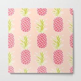 Tropical Pineapples Metal Print