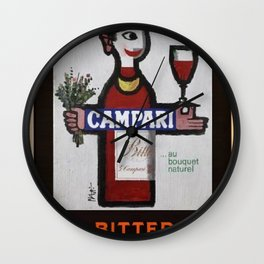 Vintage Bitter Cordial Campari Advertising Poster No. 1 Wall Clock