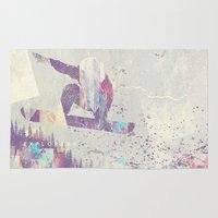 snowboarding Area & Throw Rugs featuring Explorers IV by HappyMelvin